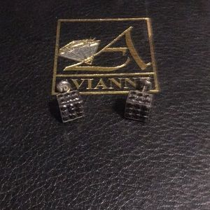 Avianne men's black diamond earrings
